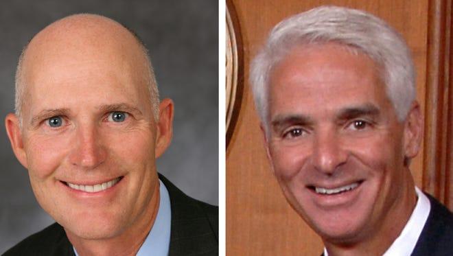 Rick Scott, left; Charlie Crist, right