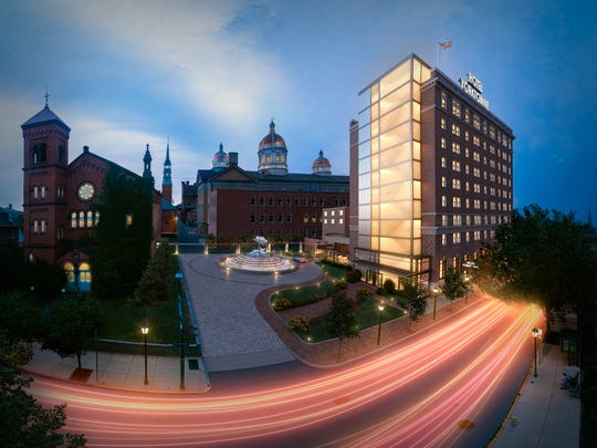 A rendering by AB Sketches shows how the Yorktowne Hotel will look when renovations are complete in late 2018 or early 2019.