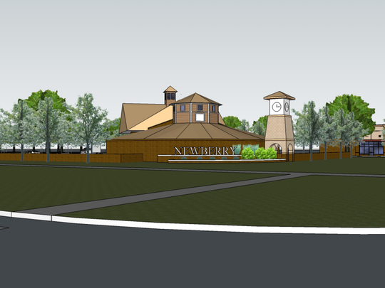 An eye level shot of what the corner of M-59 and Fenton Road might look like should Hartland Township officials approve the proposed Newberry Place development.
