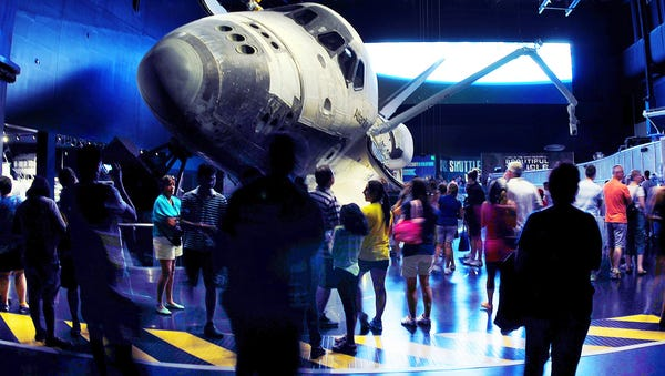 Guests at the Kennedy Space Center Visitor...