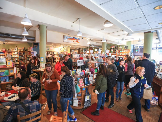 The scene in Malaprop's book store in downtown Asheville