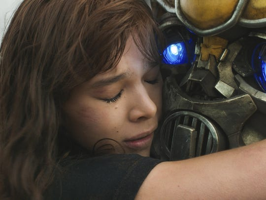 "Hailee Steinfeld as Charlie and Bumblebee in a scene from ""Bumblebee."""