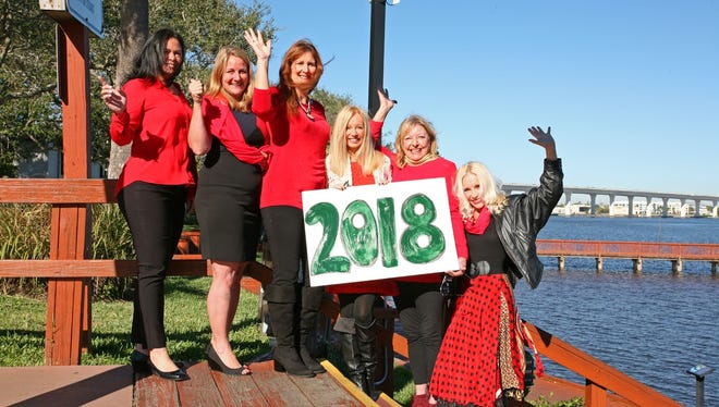 Gathering at the Rockin' Riverwalk Stage, Downtown Stuart, on a sunny day in December 2017 were these members of the Woman's Power Lunch Group. Looking ahead to 2018 activities are, from left, Anne Warner, Water Pointe Realty Group; Stacy Wise, Coldwell Banker Real Estate; Tracy Howse, Women's Power Lunch; Susan Maxwell, REMAX of Stuart; Robin Brandon, retired mom; and Julianna, Aphrodite Style Downtown Stuart.