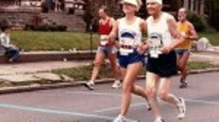 Cheryl Clark with our Dad at the 10-Mile Marker in 1989.