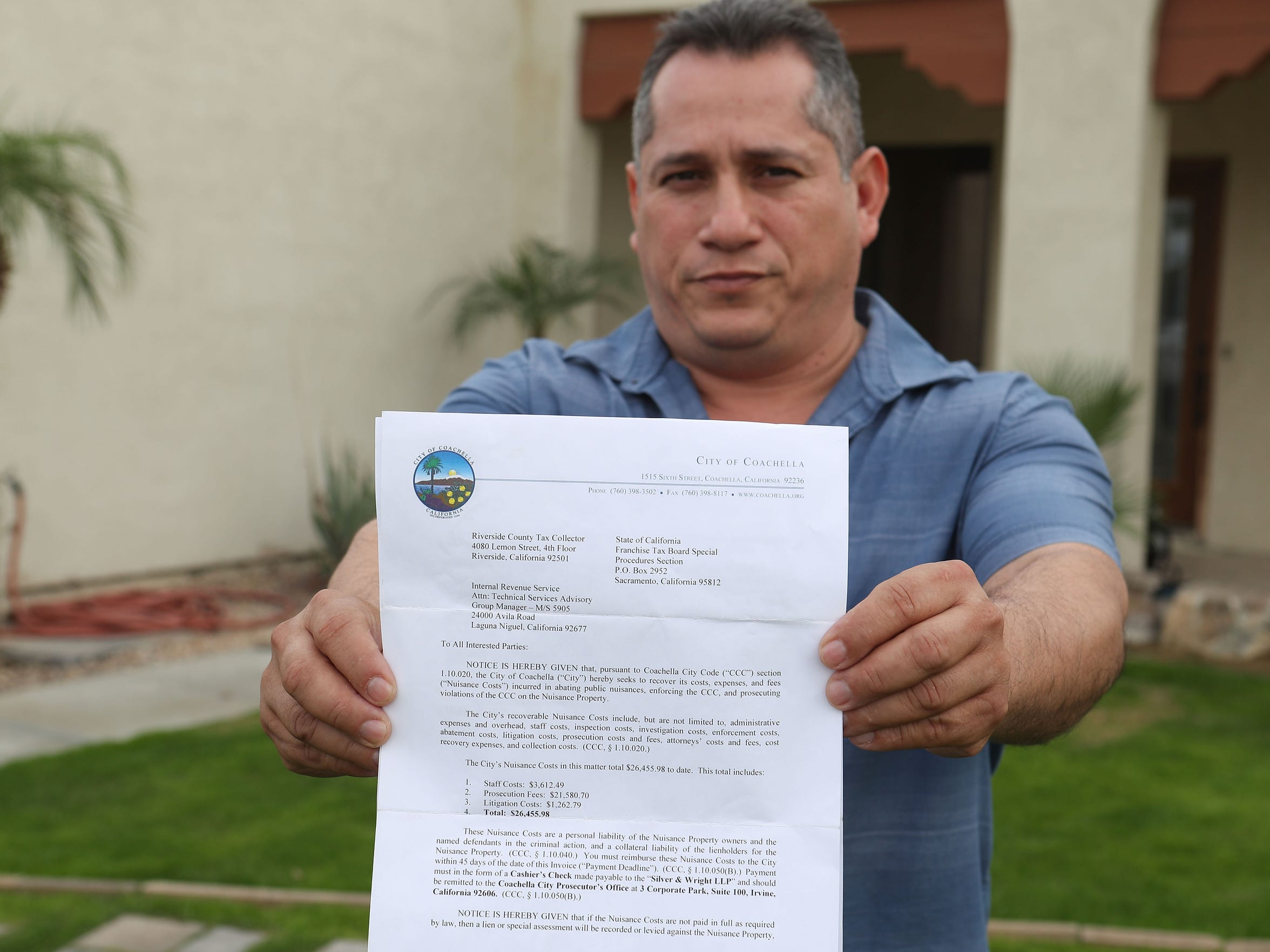 Cesar Garcia, 41, of Coachella, built an addition on to his home without proper permits. Now, Coachella City Hall wants him to pay $31K to prosecute himself.