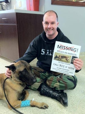 Officer Jerry Popp and Karson, a Beligan Malinois, were reunited on Sunday.