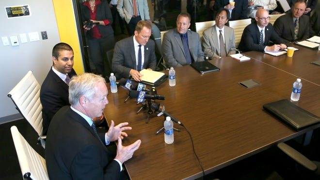 U.S. Sen. Ron Johnson (lower left) speaks at a meeting with Federal Communications Commission Chairman Ajit Pai (upper left) and broadband providers to discuss telecommunications issues affecting Wisconsin constituents.