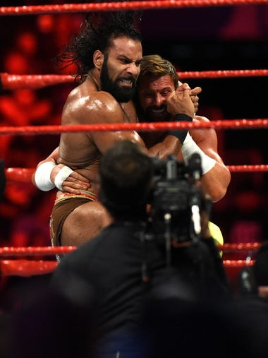 Jinder Mahal (left) and Zack Ryder fight during WWE