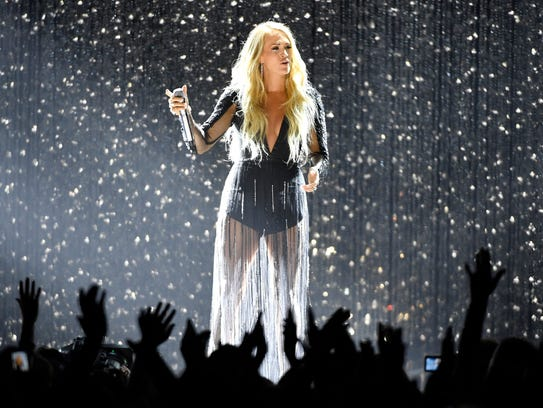 Carrie Underwood performs at the 2018 CMT Awards Wednesday,