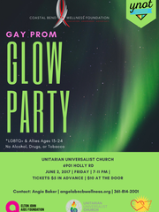 Youth Network Out Together, or YNOT, partnered with the Corpus Christi PFLAG chapter for the event. The glow party-themed prom will be from 7-11 p.m. June 2 at the Unitarian Universalist Church of Corpus Christi.