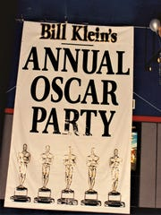 A sign shows Bill Klein's Annual Oscar Party.