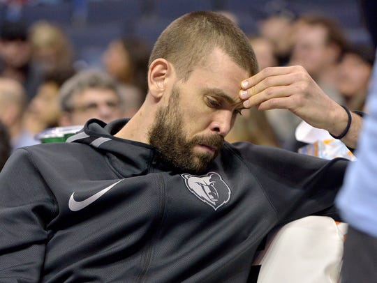 Memphis Grizzlies center Marc Gasol sits on the bench