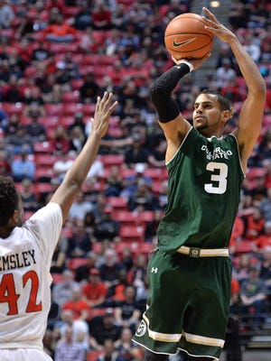 CSU's Gian Clavell, the Mountain West Player of the Year, puts up a shot during a Jan. 28 win at San Diego State. Clavell is participating in a pro combine in Florida this week and hoping to get a shot with an NBA team next season.