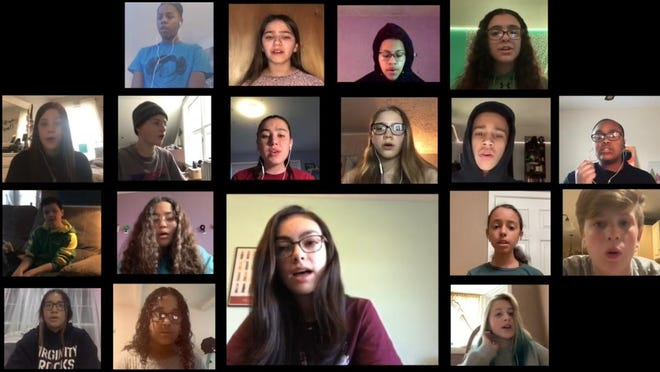 YouTube video screen shot of a virtual choir of Valley Central Middle School students who recorded individual performances in their separate homes.