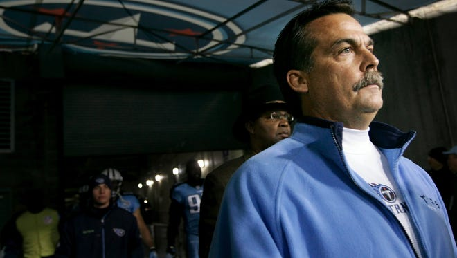 Jeff Fisher waits in the tunnel for the start of a 2008 game against the Colts.