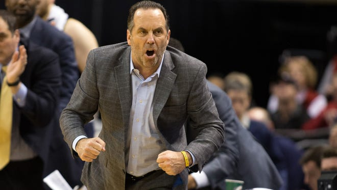 Dec 17, 2016; Indianapolis, IN, USA;  Notre Dame Fighting Irish head coach Mike Brey tries to pump up his team from the sideline in the second half of the game against the Purdue Boilermakers at Bankers Life Fieldhouse. The Purdue Boilermakers beat Notre Dame Fighting Irish 86-81. Mandatory Credit: Trevor Ruszkowski-USA TODAY Sports