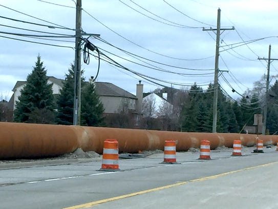 Long-term, temporary sewer bypass piping sitting on
