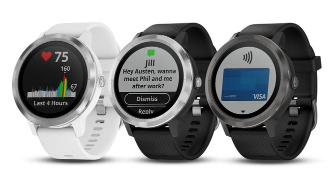 Garmin's vivoactive 3, (starting at $299.99, available for pre-orders now) has GPS and a heart rate monitor, does NFC mobile payments and can run apps from its own store.