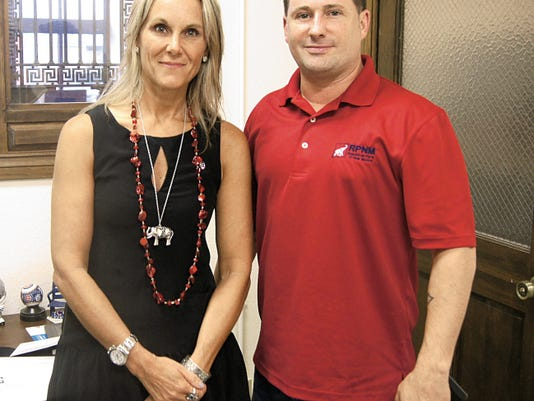 State Chairperson of the Republican Party Debbie Maestas, left, and Todd Johnson, political director, were in Grant County on Monday visiting with local GOP leaders. Randal Seyler - Sun-News