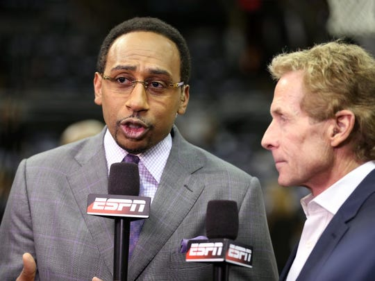ESPN analyst Stephen A. Smith before game five of the 2014 NBA Finals between the San Antonio Spurs and the Miami Heat at AT&T Center.