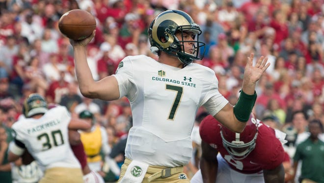 Former CSU quarterback Nick Stevens, shown throwing a pass Sept. 16 in a game at Alabama, has tryouts with two NFL teams at rookie minicamps this week and next.