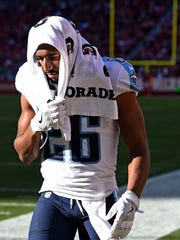 Titans cornerback Logan Ryan (26) leaves the field with an injury during the game against the 49ers at Levi's Stadium Sunday, Dec. 17, 2017 in Santa Clara, Calif.