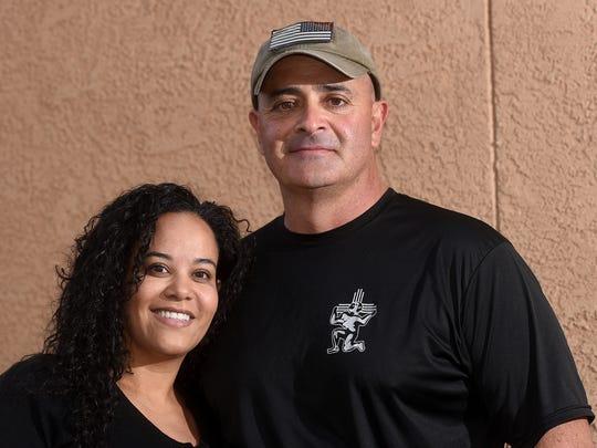 Summer Martinez and David Montoya pose for a portrait on Thursday at Martinez' home in Farmington.