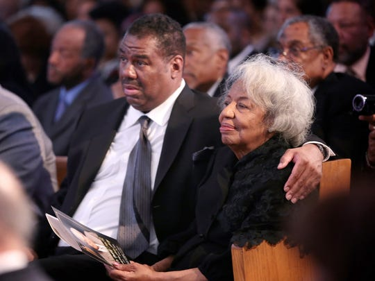 Doris Chenault, the wife of Rev. Nicholas Hood Sr., sits next to her son Victor Chenault Jr. during the funeral service at the Plymouth United Church of Christ on Saturday, April 16, 2016 in Detroit.