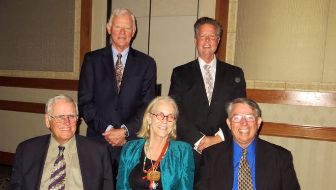 Scottsdale History Hall of fame honorees are (seated, from left) Les Conklin, Betty Drake, Scottsdale Historical Society President Don Hadder, (standing) Lou Jekel and Jim Keeley.