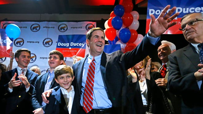 Former Cold Stone CEO and gubernatorial candidate Doug Ducey is seen during the Republican primary election party on Aug. 26, 2014, in Phoenix.
