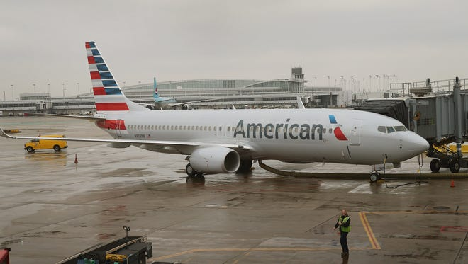 An American Airlines Boeing 737-800 at a gate at Chicago O'Hare Airport on Jan. 29, 2013.