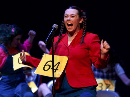 """Stephanny """"Noah"""" Noria plays Olive Ostrovsky in """"25th Annual Putnam County Spelling Bee"""" at Quincy Music Theatre's recent production. Kiwanis Club is sponoring an Adult Spelling Bee in April."""