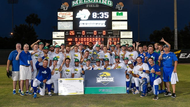 The Florida Gulf Coast University baseball team celebrates winning the Atlantic Sun tournament for the first time. The Eagles beat Jacksonville twice on Saturday, May 27, 2017, in DeLand.