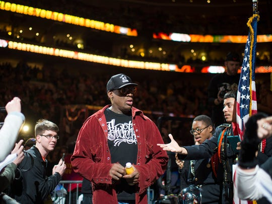 Dennis Rodman enters Wing Bowl 24 at the Wells Fargo Center in Philadelphia.