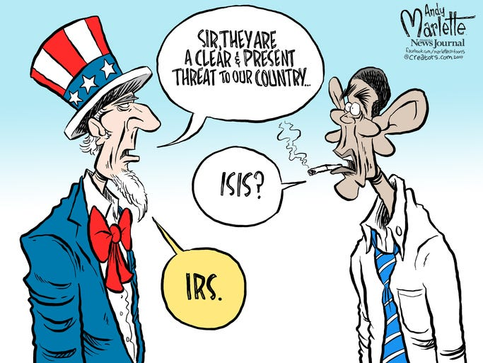 Marlette cartoon: ISIS vs. IRS