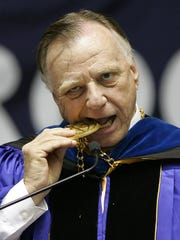5/17/09  Former Brookdale Community College President Dr. Peter F. Burnham makes a humorous point in this 2009 file photo
