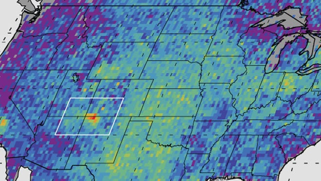 This undated handout image provided by NASA/JPL-Caltech/University of Michigan, shows the Four Corners area, in red, left, the major U.S. hot spot for methane emissions in this digital map, showing how much emissions varied from average background concentrations from 2003-2009. Dark colors are lower than average; lighter colors are higher. A puzzling concentration of the greenhouse gas methane over the Southwestern United States appears to come mostly from leaks in natural gas production, scientists said Monday, Aug. 15, 2016. (NASA, JPL-Caltech, University of Michigan via AP, File)