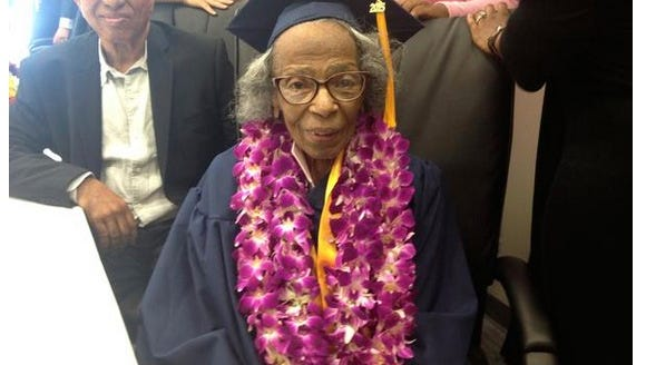 Doreetha Daniels, 99, graduated from college from College of the Canyons in Santa Clarita, Calif., with an associate degree in social sciences.