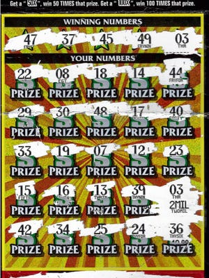 A Macomb County woman's winning Multiplier Spectacular  instant lottery ticket.