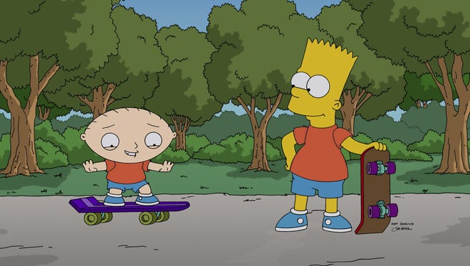 """Stewie Griffin, left, learns to skateboard from his new friend, Bart Simpson, in a scene from """"The Simpsons Guy,"""" the one-hour season premiere episode of """"Family Guy,"""" airing tonight."""