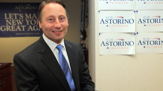 Westchester County Executive Rob Astorino worked as sports radio producer, served on his local town board and then hosted his own religion show on satellite radio. Now heÕs running for governor in New York. The 47-year-old Astorino was photographed at his campaign headquarters in White Plains Oct. 3, 2014.