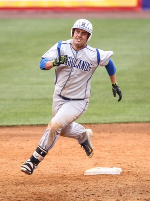 Highlands' Todd Ramey rounds second base during the Bluebirds' game against McCracken County at the state tournament.