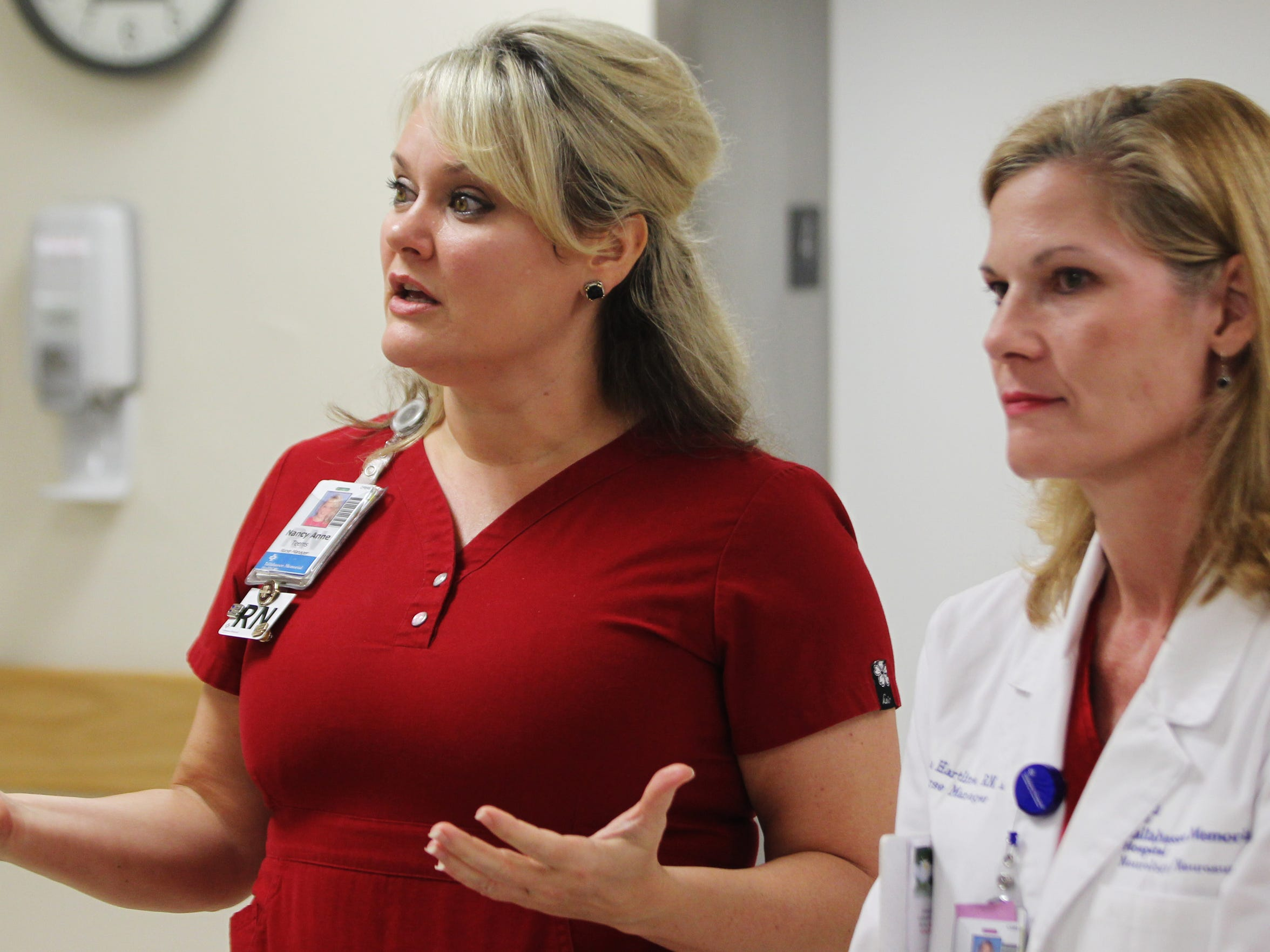 Tallahassee Memorial Hospital nurse managers Nancy Anne Teems, left, and Marsha Hartline talk with a reporter during an interview. Nationally, nursing is a high-demand profession wrought with vacancies.