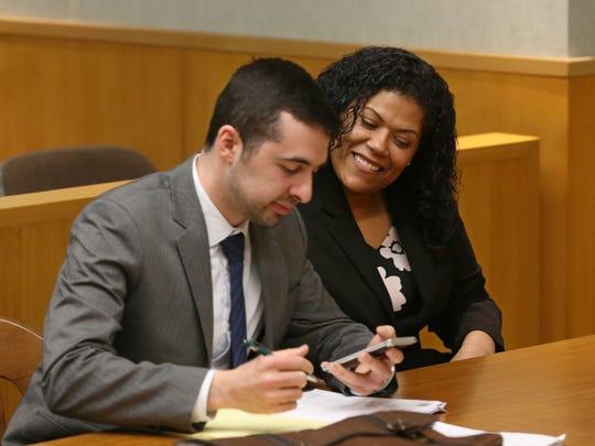 Judge Leticia Astacio with her attorney Mark Foti were