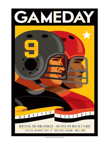 The throwback gameday poster for Iowa at Iowa State
