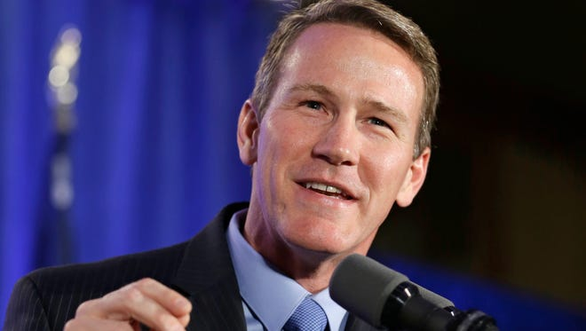 Ohio Secretary of State Jon Husted speaks to supporters at the Ohio Republican Party celebration in Columbus, Ohio, on Nov. 4, 2014.