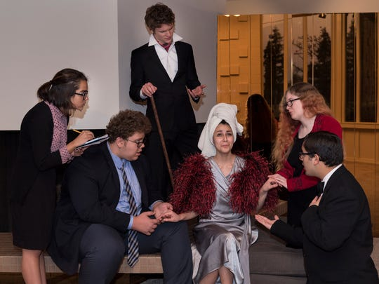 """University Preparatory High School theater students Sloan Vanciel, left, John Bruce, Mackaby Pennington, Alexandria Carrillo, Alicia Wilson and Tommy Carrillo in their production of """"Light Up the Sky"""" on Friday, February 16, 2018."""