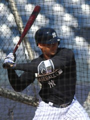 "Yankee prospect Gleyber Torres during batting practice during 2017 spring training. This spring, Torres, who is likely to be the Yankees' second baseman, will also work out at shortstop and third. ""The most important thing is to help wherever the team needs me,'' Torres said."