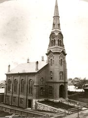 First Baptist Church in Burlington shown in 1868.
