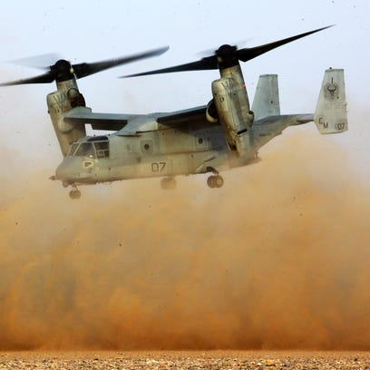 An MV-22B Osprey showcases the Defensive Weapon System